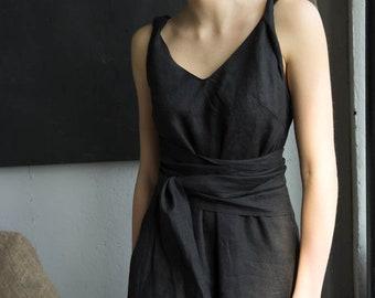 da50b2e3a96 BLACK LINEN DRESS with pockets maxi boho dress