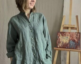 Oversized Linen Shirt, Linen Shirt For Woman, Linen Boho Shirt, Plus Size Linen Shirt