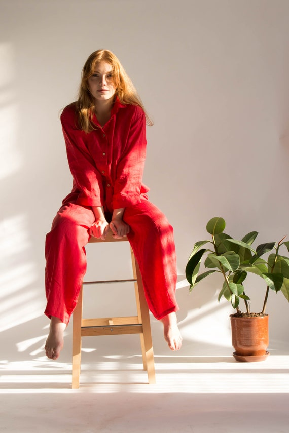 Linen Pajama Set Women Bridesmaid Pajamas by Etsy