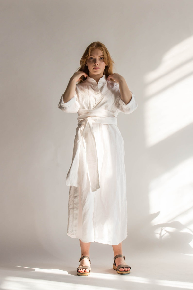 b9c365dcc1d WHITE LINEN DRESS white maxi dress with girdle and pockets