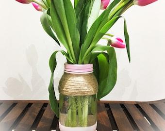 Hand Painted Ball Mason Jar, flower vase, jute twine decoration