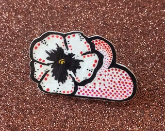 Hand Drawn Pansy Heart Cloud Brooch Pin