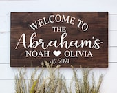Personalized Last Name Welcome To Our Home Wood Sign, Housewarming Gift, Realtor Closing, First Home Sweet Home, Couples Established Date