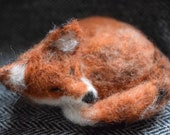 Sleeping fox, needle felt...