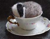Sleeping badger in a tea ...