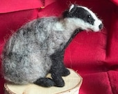 Needle felted badger, fel...