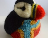 A wee Orkney Puffin, needle felted and knitted puffin