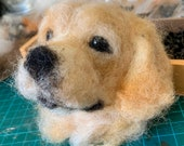 A wee needle felted pet portrait (head)