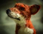 Needle felted fox, felted woodland animal, woodland fox
