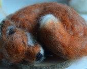 Sleeping fox, needle felted fox, woodland animal