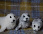 Needle felted seal, grey ...
