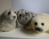 Needle felted seal, grey seal, scottish grey seal