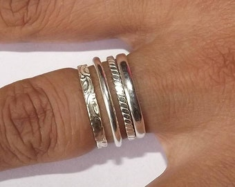 Stacking Rings Silver, sterling silver bands, midi rings, set of 4, silver band, knuckle ring, dainty ring, Toe ring, Size 1US - 14US