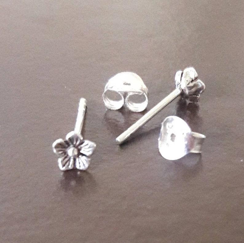 tiny cute cherry blossom flower flower stud earrings 20 gauge minimalist 925 sterling silver stud earrings girl studs silver posts