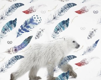 Polar Bear Cub & Feathers Square Neckscarf/animalier Poly/Endless ChiC Accessory 90 x 90 cm. Polar Bear Puppy