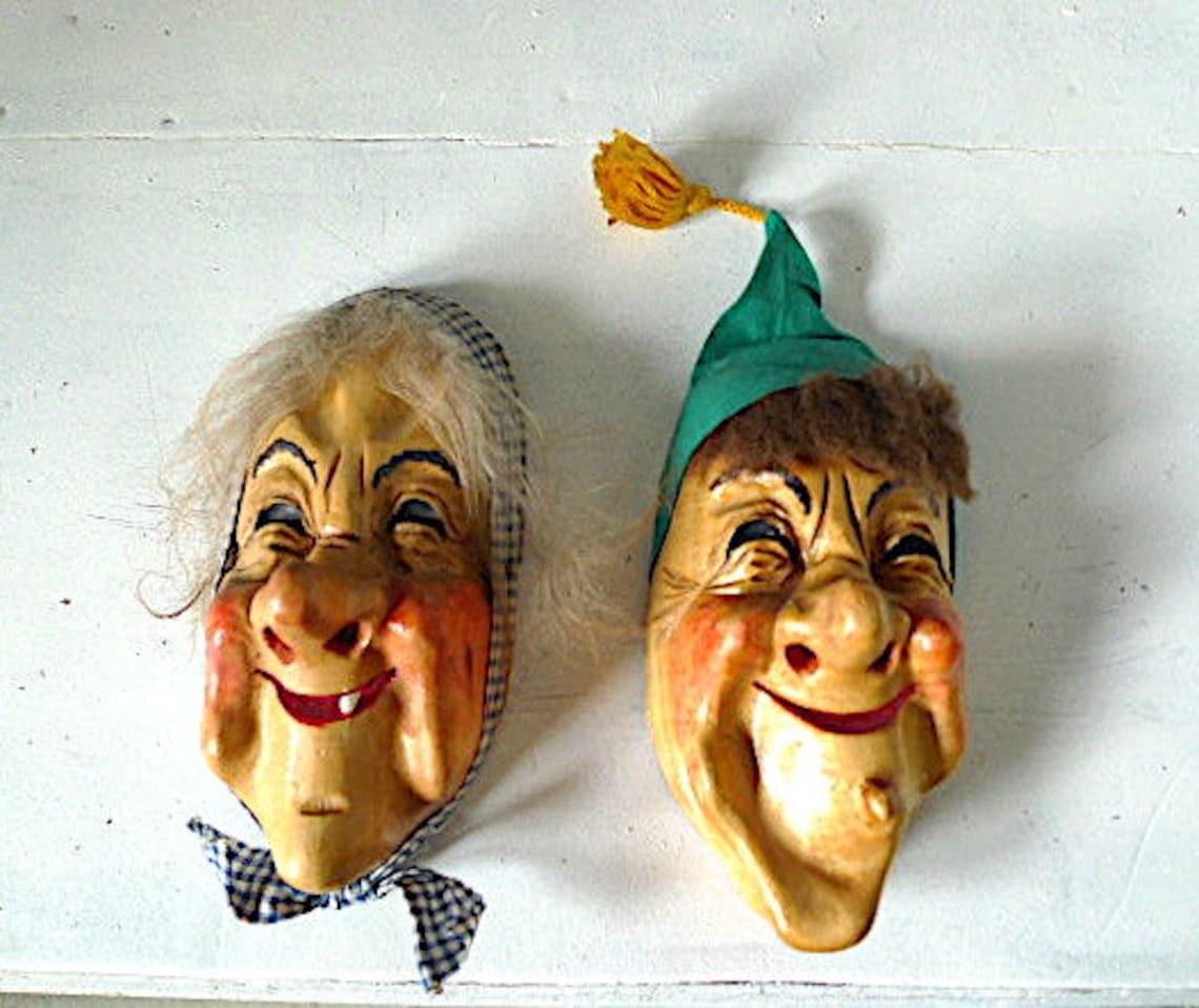 Vintage Carved Wood Mask Switzerland Alps Carnival Lucerne