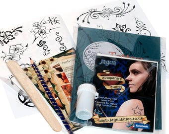 Natural Temporary Tattoo Kit - 25ml Resealable Tub - Design Booklet - Stencil Kit