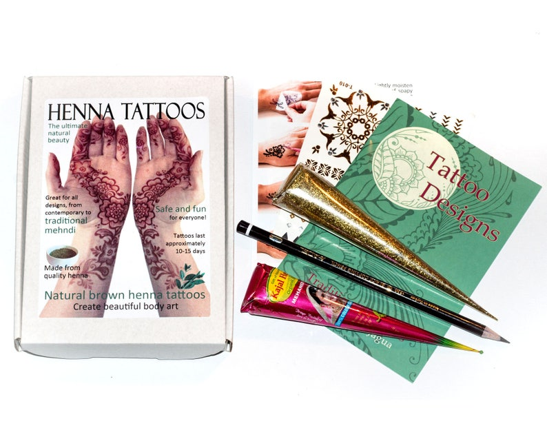 Henna/Mehndi Tattoo Kit Includes Glitter cone and Free Gold | Etsy