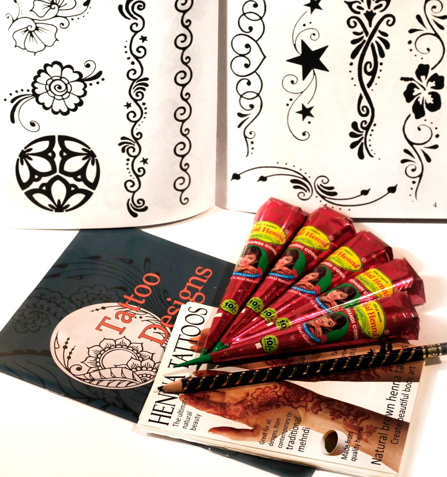 Waar Henna Tattoo Kopen: Extra Grote Henna / Mehndi Tattoo Kit 5 Biologische Henna