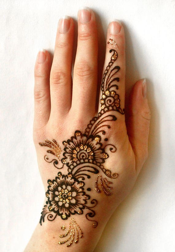 Henna Mehndi Tattoo Kit Includes Glitter Cone And Free Gold Etsy