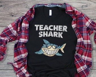83da9ddd Teacher Shark T-Shirt, Funny Appreciation Shirt, First Last Day School  Wear, Kindergarten College Professor Tee, Graduation Student Gift