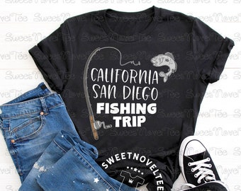 9fd517e7 San Diego Fishing Trip T-Shirt, Dad Son Weekend Vacay, Family Friends  Vacation, Cute Husband Vacay Gift, Grandpa Gift, Brothers Road Trip