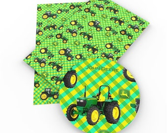 Tractor Faux Leather Tractor Embroidery Vinyl Tractor Synthetic Leather Red Tractor Faux Leather Sheets Red Tractor on Green 8346107