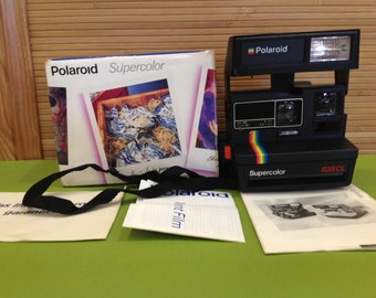 POLAROID SUPERCOLOR 635CL Closeup One Step Instant Flash Camera Vintage Tested Working+Box+Manual / Made in United Kingdom