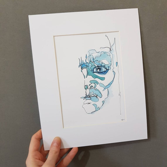 Watercolour Original abstract portrait painting in blue pen and ink on paper