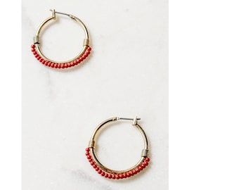 Red Hoop Earrings / 80s Earrings / Statement Jewelry / Hoop Earrings