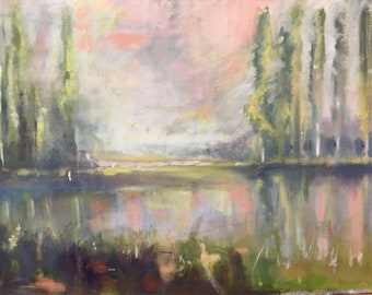 Poplar Trees Over Lake