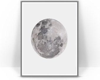 La Luna Print Full Moon Wall Art The Printable Poster Illustration Jpg