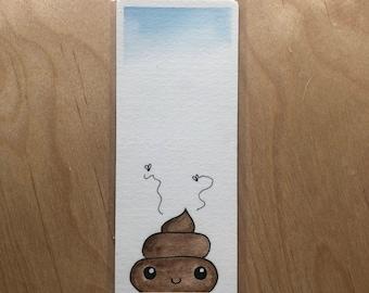 Cute poop Watercolour bookmark