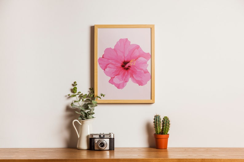 Pink Hibiscus Flower Printable Art Etsy