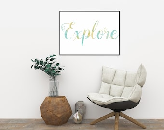 Explore -  Typographic Instant Download modern poster, Printable Art Wall Decor, green-yellow letters on white background