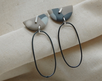 Recycled Silver Earrings, Geometric shape, Small Hoop Style, Handmade, Minimal, Contemporary, Everyday Studs, Gift, Organic Shape