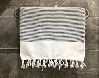 100% Cotton Turkish Peshtemal, White Black Stripy Handwowen Towel, Softer, Thicker, Wedding Gift, Classical Bath, Hammam,Ecologic,Azo Free