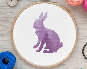 Bunny Cross Stitch Pattern Woodland Animals Instant Download PDF Hare Cross Stitch Chart Wall Decor Digital Rabbit Embroidery Pattern Gift