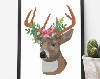 Deer Cross Stitch Pattern Modern
