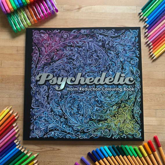 - Big Psychedelic Colouring & Guide Book Adult Coloring Etsy