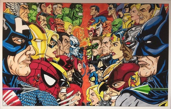 "11"" X 17"" DIGITAL ART PRINT DC COMICS SUPERMAN VS MARVEL COMICS THE HULK V2"
