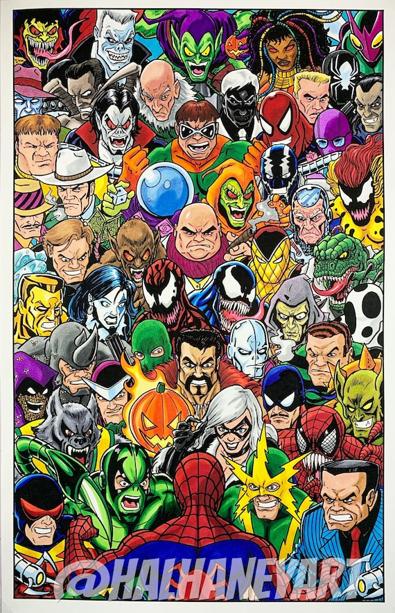 Spider Man Rogues Gallery 11x17 Fine Art Print Etsy