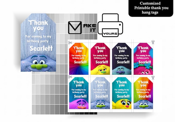 photo about Printable Hang Tag named Trolls Thank Yourself Hold Tag, Trolls Birthday, Trolls Social gathering, Trolls Printable, Trolls Electronic, Trolls Electronic Cling Tag, Trolls Custom made Tag