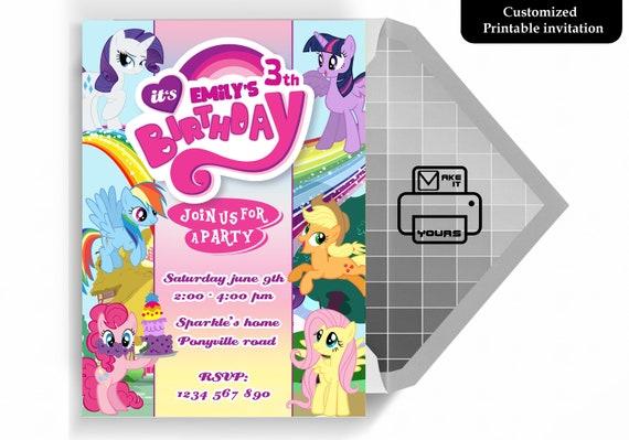Little Pony Invitation Little Pony Birthday Little Pony Invite Little Pony Party Little Pony Printable Little Pony Cards Pony Invite