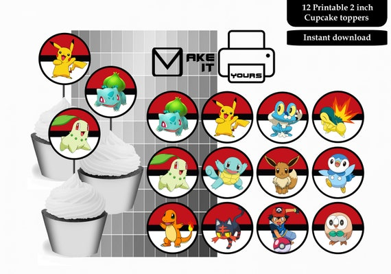 graphic about Pokemon Cupcake Toppers Printable referred to as Pokemon cupcake toppers, Pokemon cake toppers, Pokemon 2 inch stickers, Pokemon, Pokemon get together, Pokemon printable, quick obtain