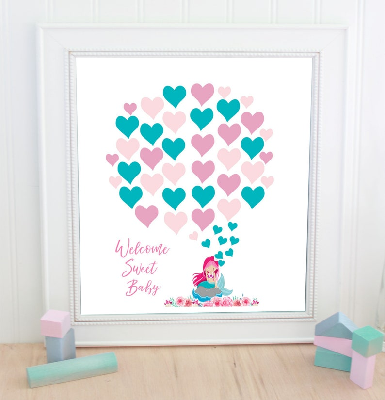 baby shower baby girl mermaid pink and teal guestbook ballons  Baby Shower baby  shower gift instant download 30 ballons pink