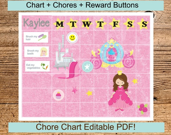 Princess Chore Chart Editable Printable Reward For Girls Chart Etsy