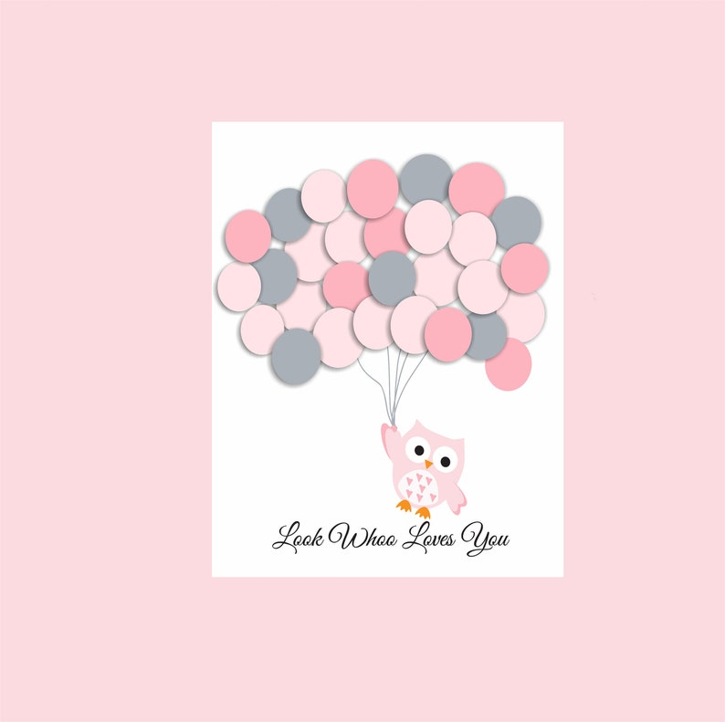 baby girl shower guestbook ballons OWl Baby Shower baby pink  shower gift instant download 30 ballons pink
