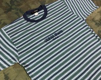 734b4e4bd7 Vintage 90s GUESS Jeans USA Stripes T-Shirt size S like L