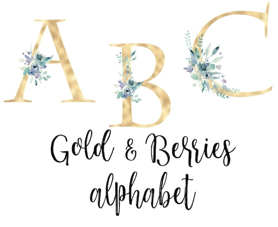 Gold Foil Alphabet With Flowers Gold Foil Letter Watercolor Etsy